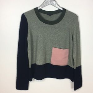 COS Patchwork Green Heather Sweater M